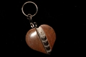 Picture of Dark Brown Orthoceras Heart Keychain